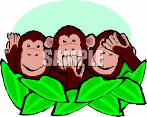 Three monkeys no hear no see no speack clipart clipart black and white stock 3 Monkeys Hiding Behind a Bush, Hear No Evil, Speak No Evil ... clipart black and white stock