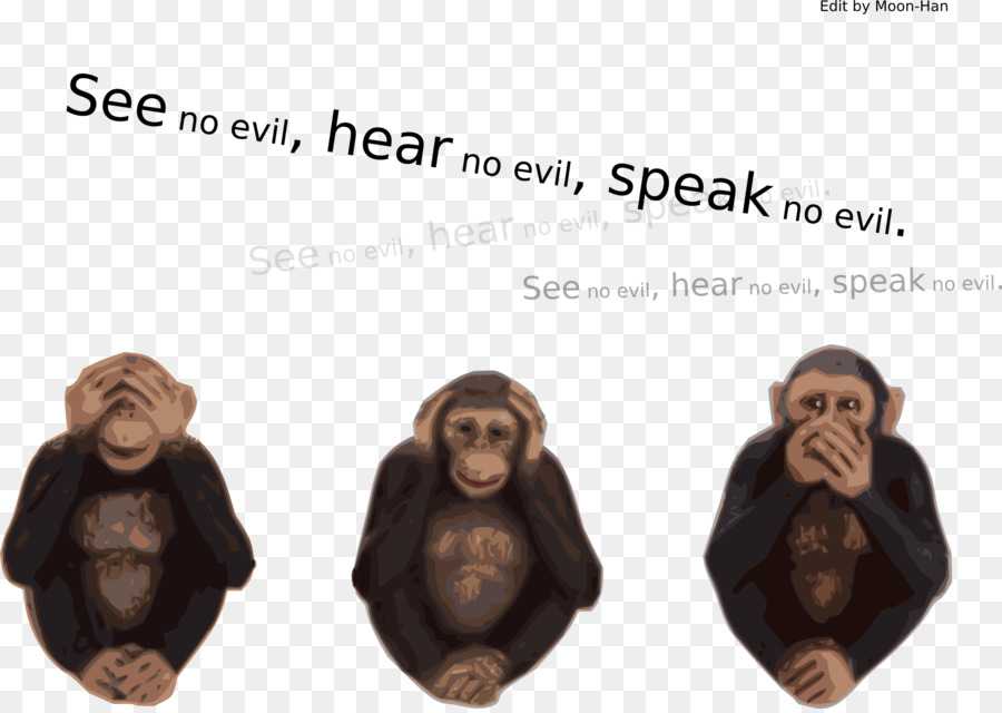 Three monkeys no hear no see no speack clipart png free Monkey Cartoon clipart - Monkey, Human, Font, transparent ... png free
