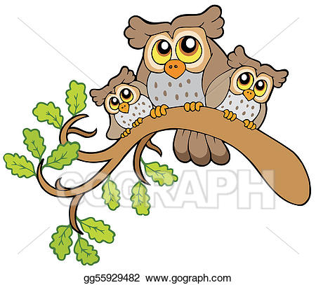 Three owls on a branch clipart cute png freeuse download Vector Illustration - Three cute owls on branch. EPS Clipart ... png freeuse download