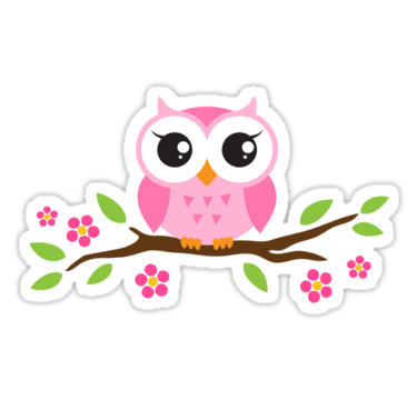 Three owls on a branch clipart cute graphic library library Cute pink cartoon baby owl sitting on a branch with leaves ... graphic library library