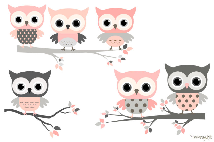 Three owls on a branch clipart cute jpg black and white Pink and grey owls set, Cute owl clipart, Kawaii owls clip ... jpg black and white