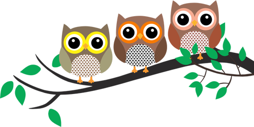 Three owls on a branch clipart cute clipart library library Three owls in a tree | Public domain vectors clipart library library