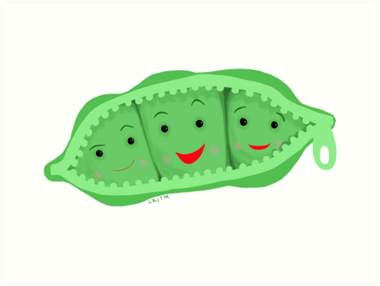 Three peas in a pod clipart png transparent stock \'3 peas in a pod\' Art Print by LibbyroseITM png transparent stock