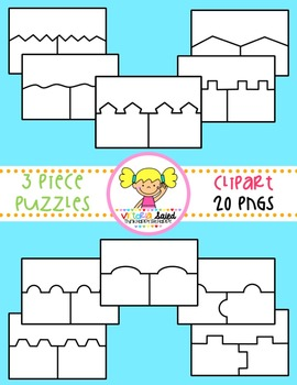 Three piece puzzle clipart vector freeuse library Puzzle Clipart {3 Piece Templates} vector freeuse library