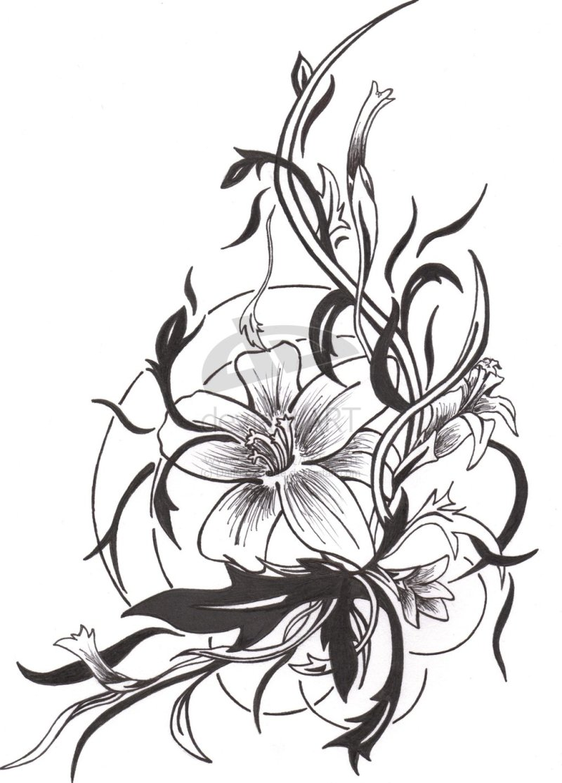 Three simple flowers clipart tatto clip art royalty free library Simple flower tattoo design 3 - Tattoos Book - 65.000 ... clip art royalty free library