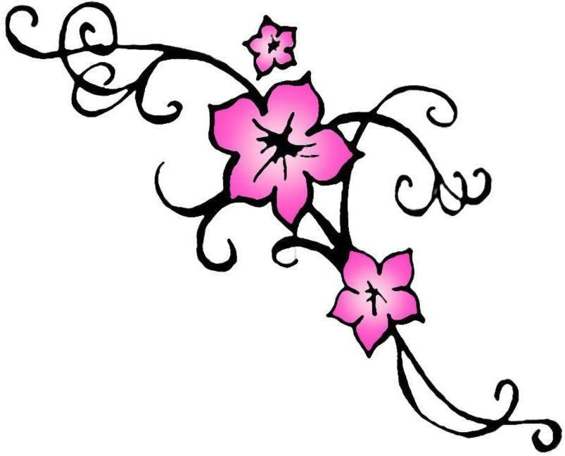 Three simple flowers clipart tatto graphic royalty free download Free Tribal Flower Tattoo Designs, Download Free Clip Art ... graphic royalty free download