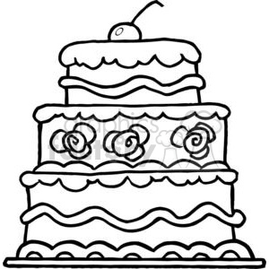 Two tiered cake clipart black graphic royalty free library Elegant Three Tiered Wedding Cake clipart. Royalty-free clipart # 379398 graphic royalty free library