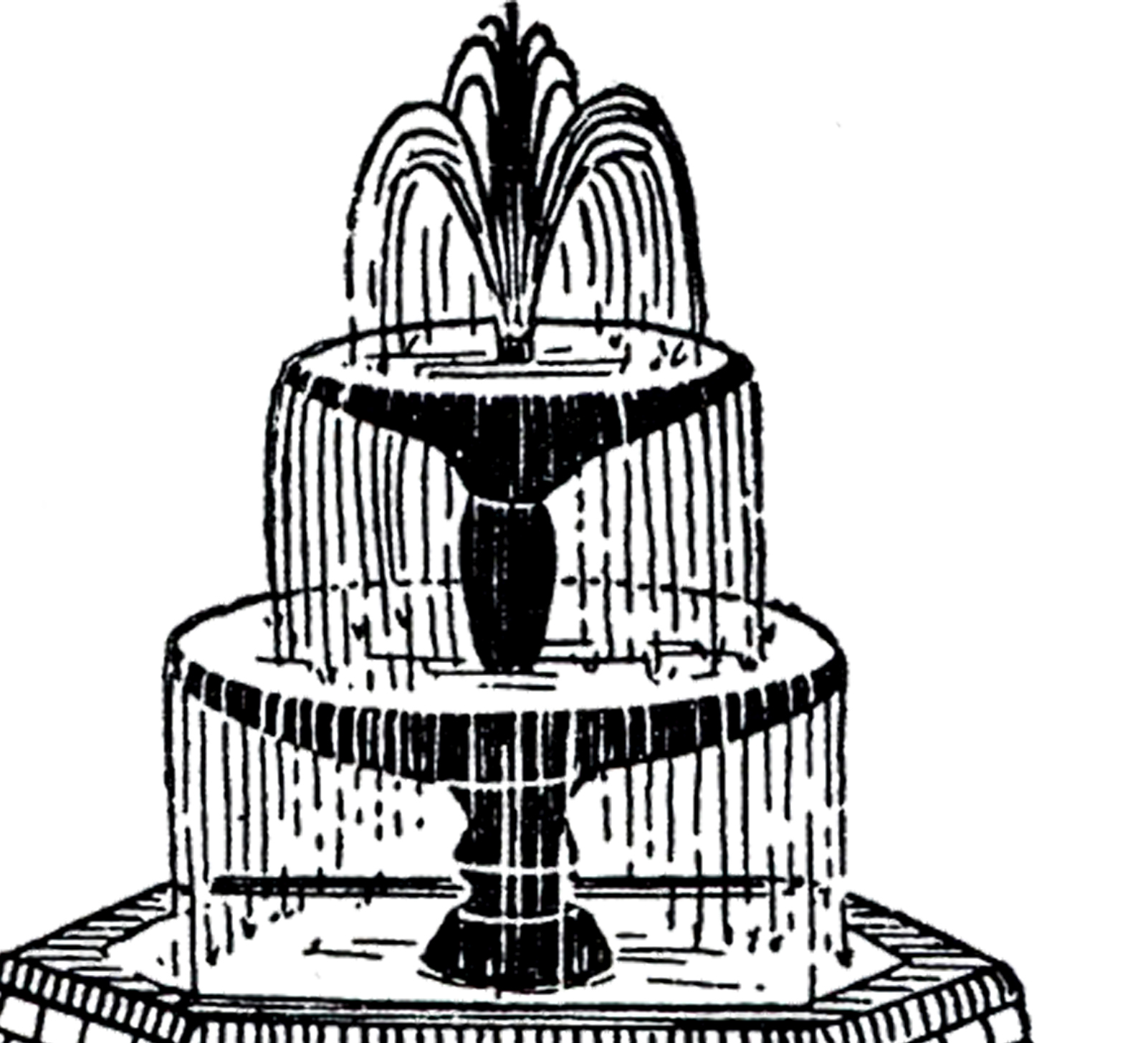Three tiered fountain clipart jpg royalty free stock Free Vintage Fountain Clip Art! - The Graphics Fairy jpg royalty free stock