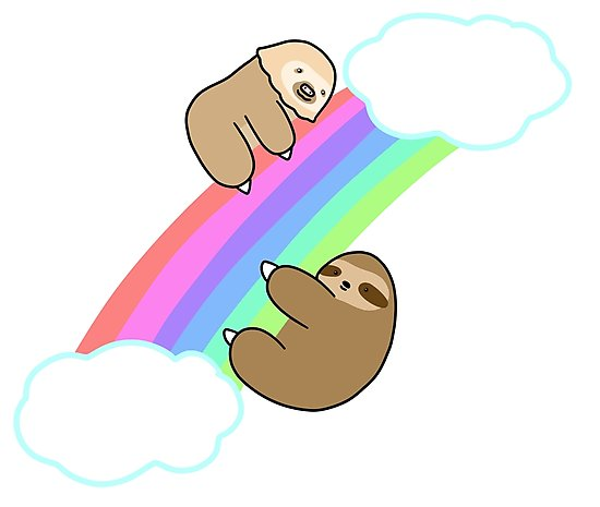 Three toed sloth clipart kids picture free library 'Rainbow Two and Three Toed Sloths' Photographic Print by SaradaBoru picture free library