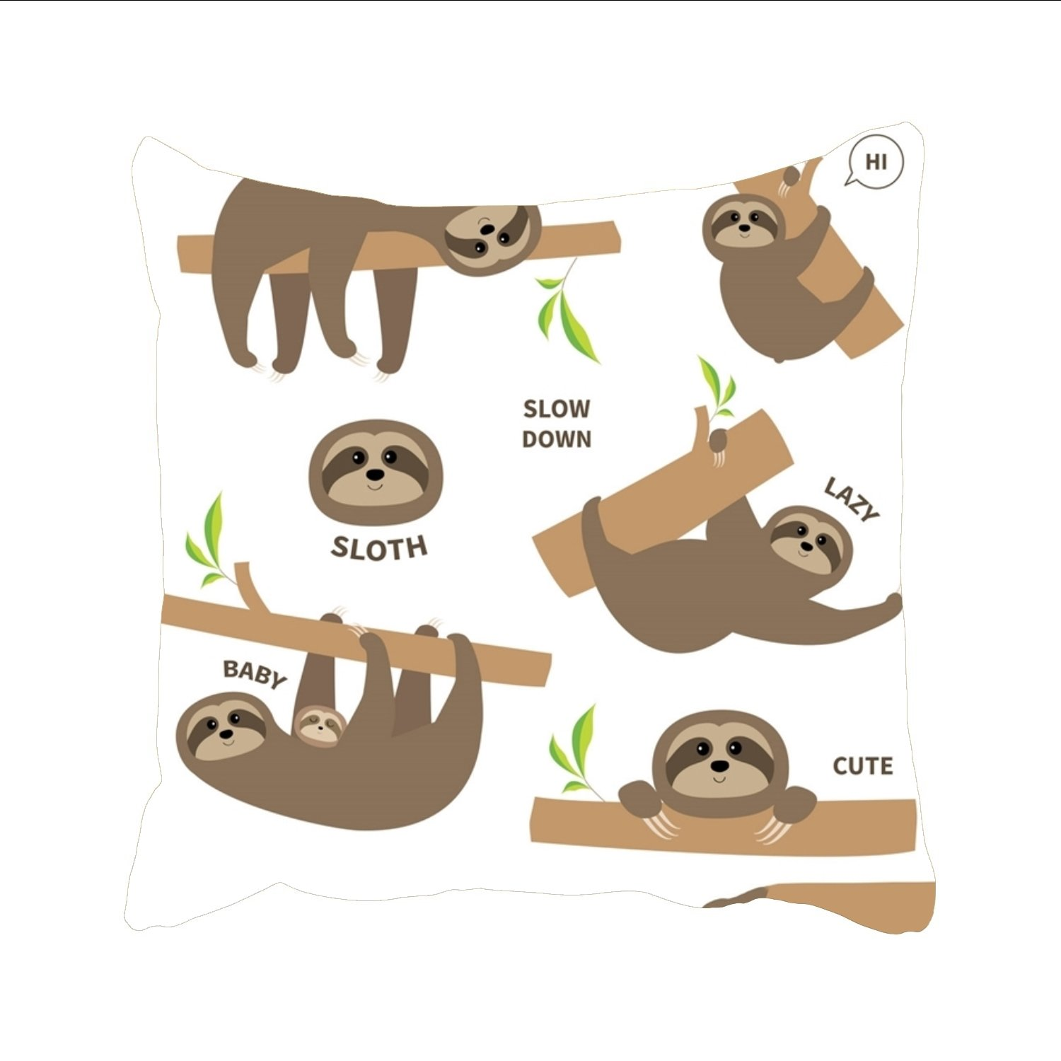 Three toed sloth clipart kids clipart library library Ranhkdn Three Toed Sloth Cartoon Christmas Pillow Shams ... clipart library library