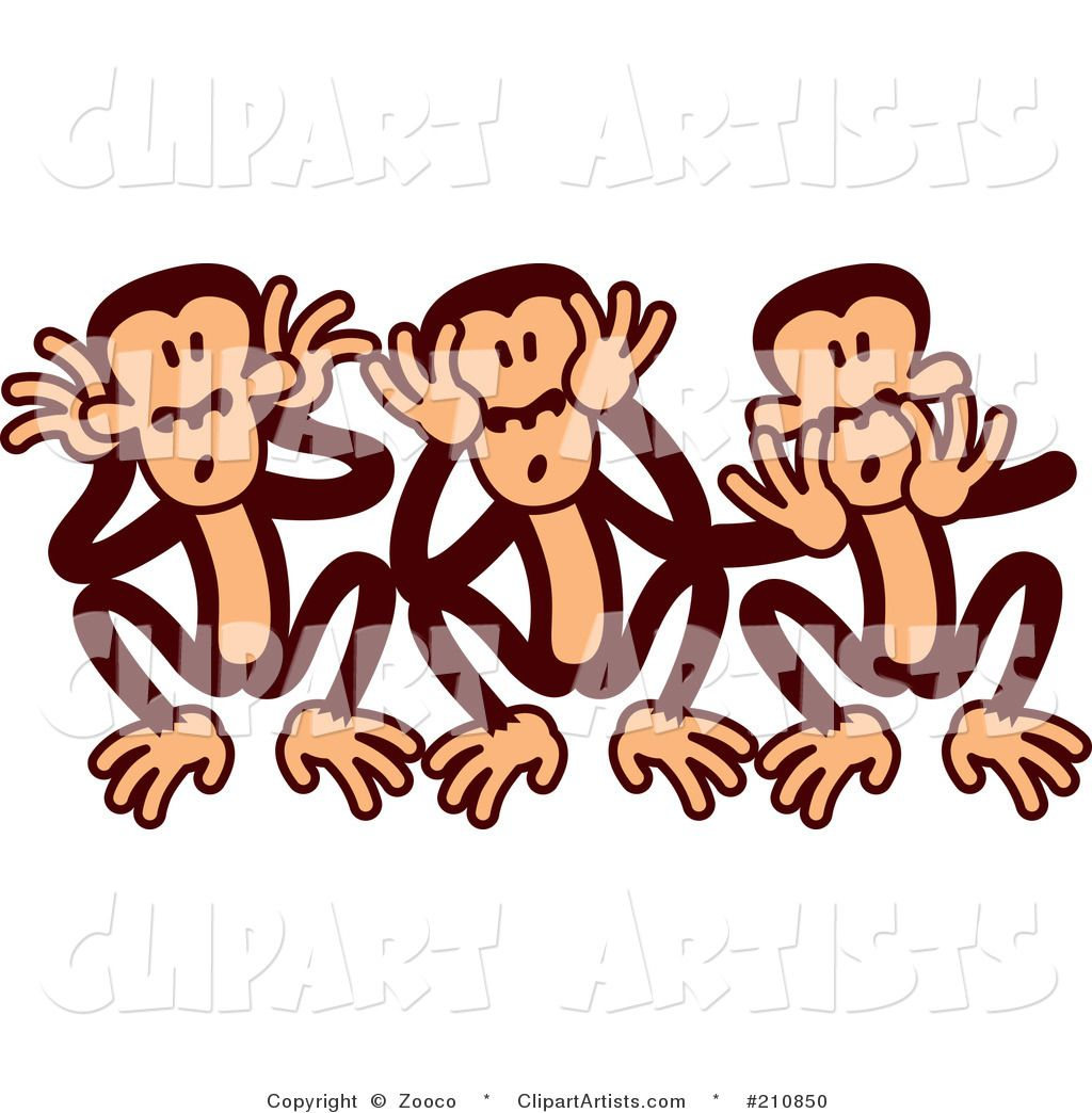 Three wise monkeys clipart clipart download Goofy Three Wise Monkeys - Cartoon Vector #210850 | Zooco ... clipart download