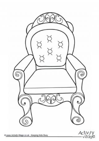 Throne clipart black and white image transparent download Throne Colouring Page 2 | colouring around the world ... image transparent download