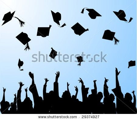 Throwing caps silluete cliparts clip black and white Graduation Hats in the Air | Download » graduation ... clip black and white