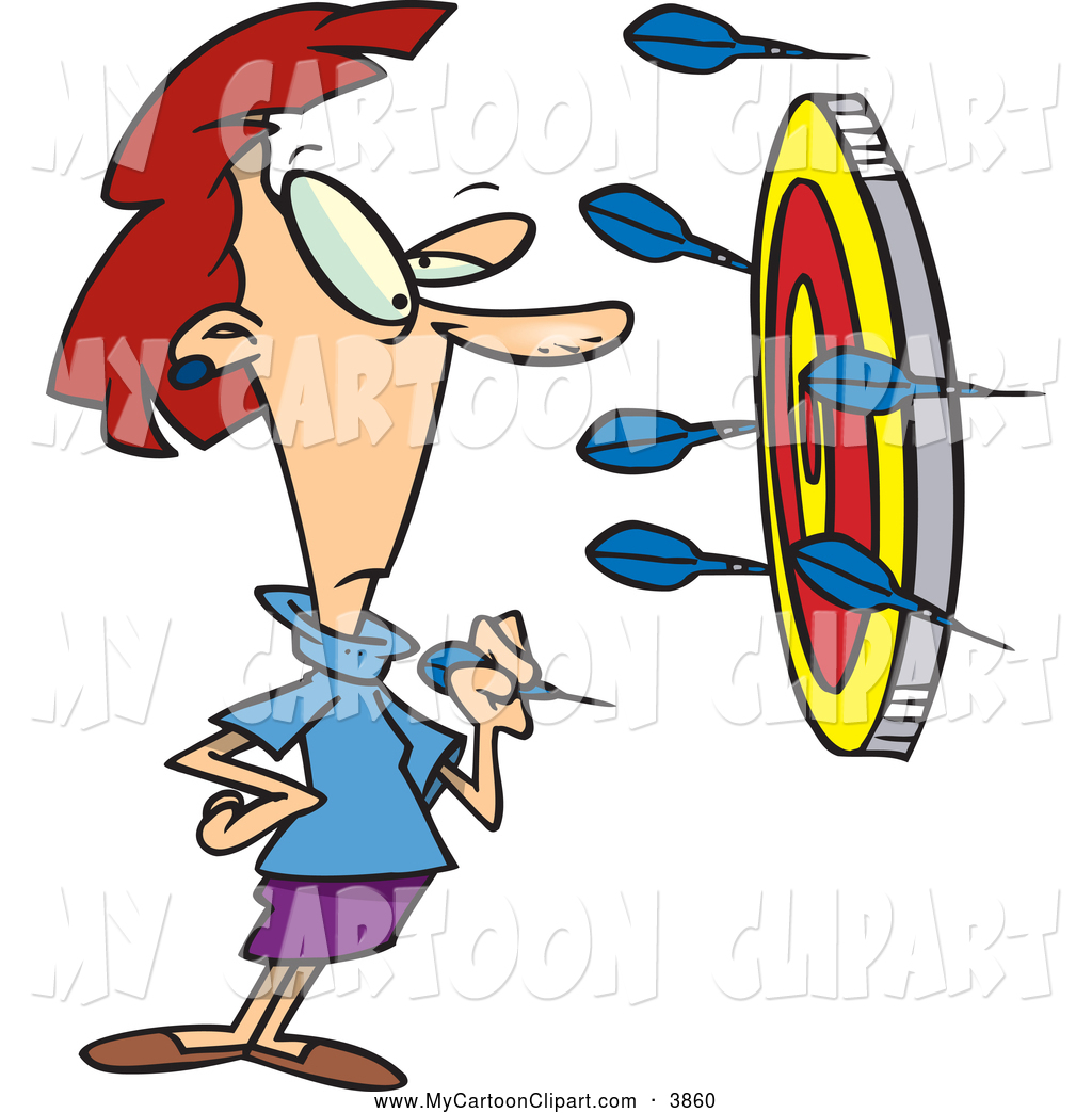 Throwing dart clipart png freeuse Clip Art of a Concerned Woman Throwing Darts at a Target by ... png freeuse