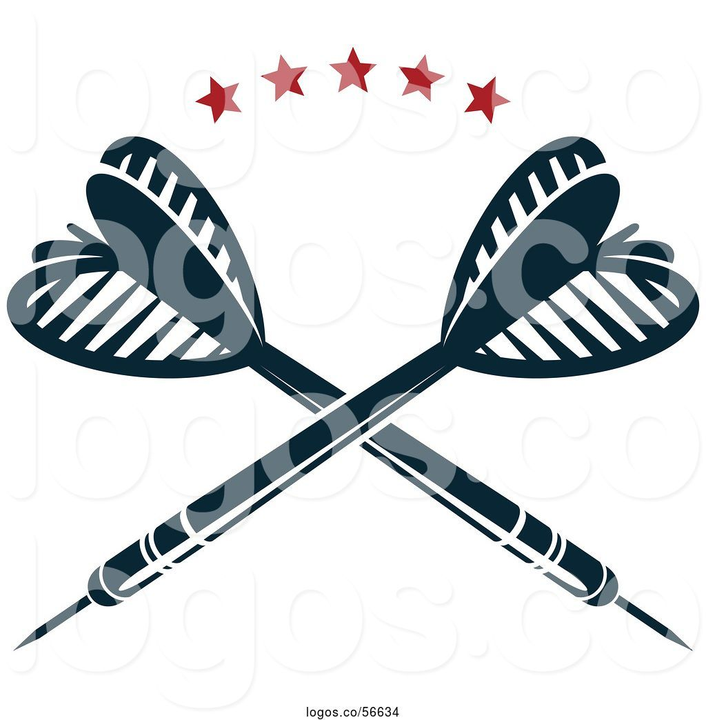 Throwing dart clipart graphic black and white download Logo of Crossed Throwing Darts Under Stars by Vector ... graphic black and white download