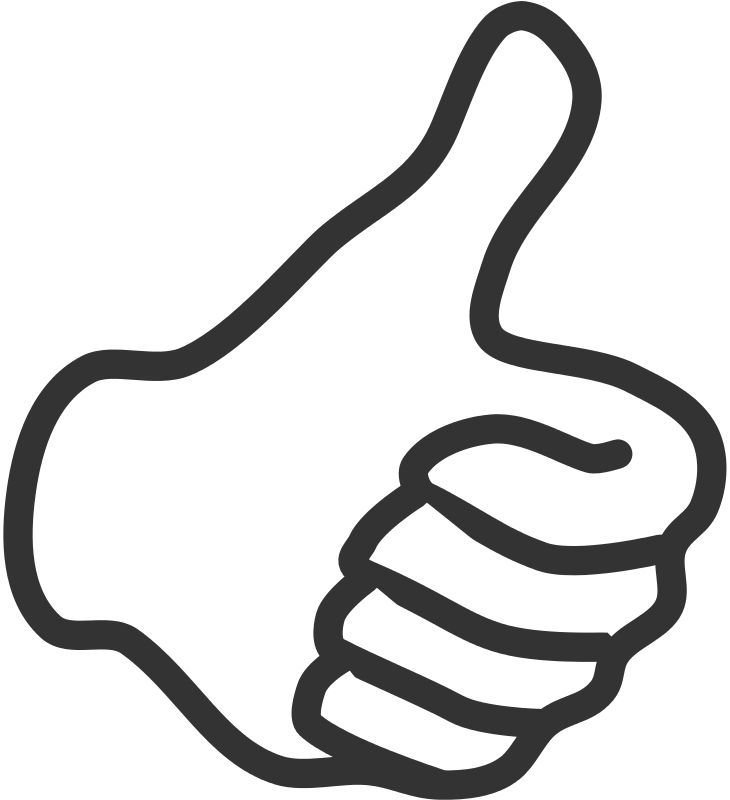 Thumbs up in air clipart jpg black and white stock Free Clipart: Thumb up - white | benoitpetit jpg black and white stock