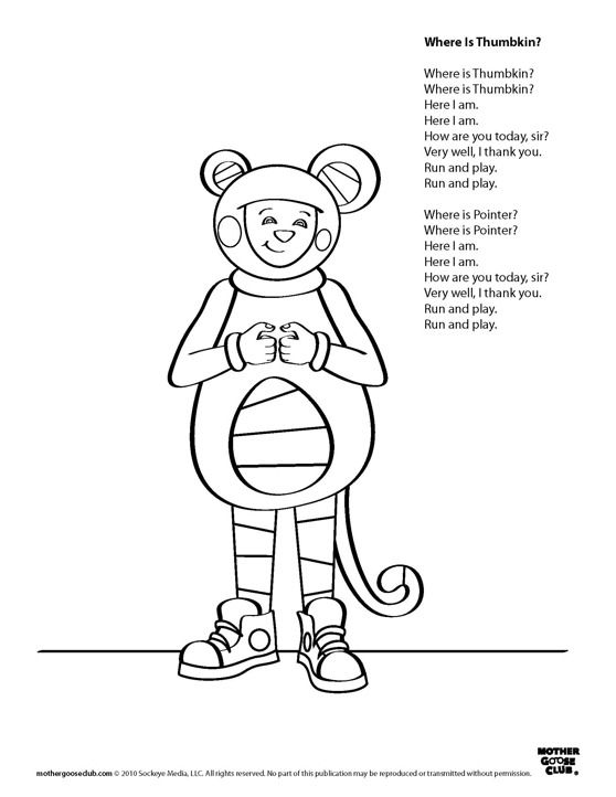 Thumbkin clipart clip free stock Coloring Pages, printable songs: Where is Thumbkin Live ... clip free stock