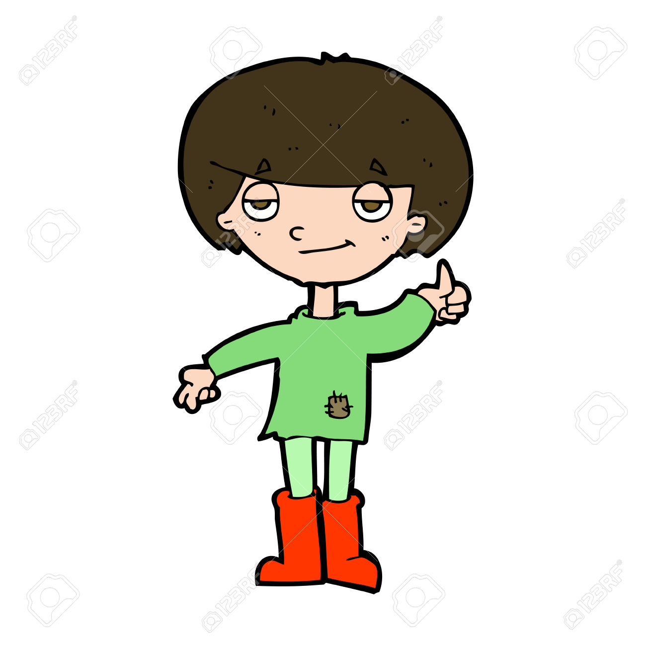 Thumbs up boy clipart clip freeuse download Cartoon Boy In Poor Clothing Giving Thumbs Up Symbol Royalty Free ... clip freeuse download