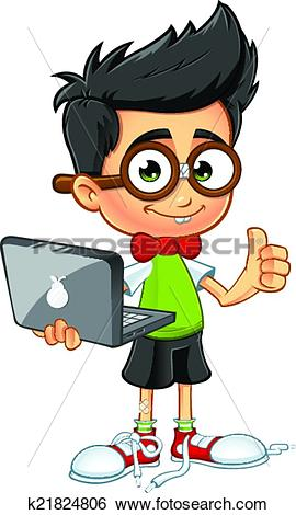 Thumbs up boy clipart clipart library download Clip Art of Geek Boy - Laptop & Thumbs Up k21824806 - Search ... clipart library download