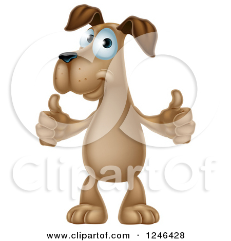 Thumbs up dog clipart banner freeuse Clipart of a Pleased Brown Dog Standing and Giving Two Thumbs up ... banner freeuse