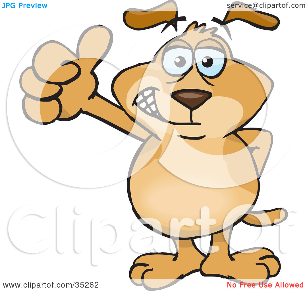 Thumbs up dog clipart graphic freeuse Clipart Illustration of a Hip Brown Dog Smiling And Giving The ... graphic freeuse