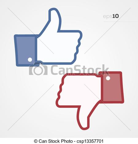 Thumbs up down clipart graphic free library Vector Clipart of Social Thumbs Up and Down - Social media thumps ... graphic free library