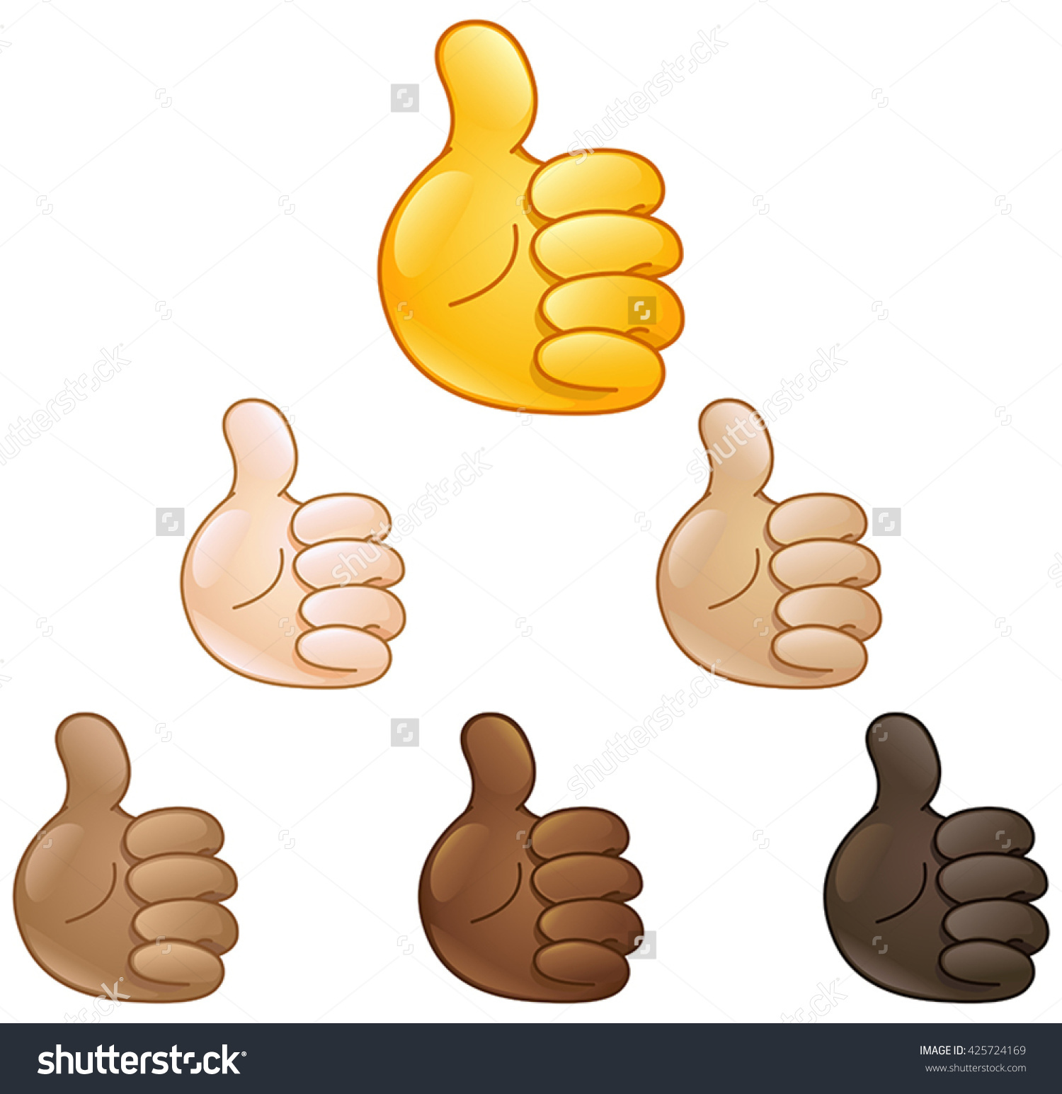 Thumbs up emoji clipart png library library Thumbs Emoji Hand Set Various Skin Stock Vector 425724169 ... png library library