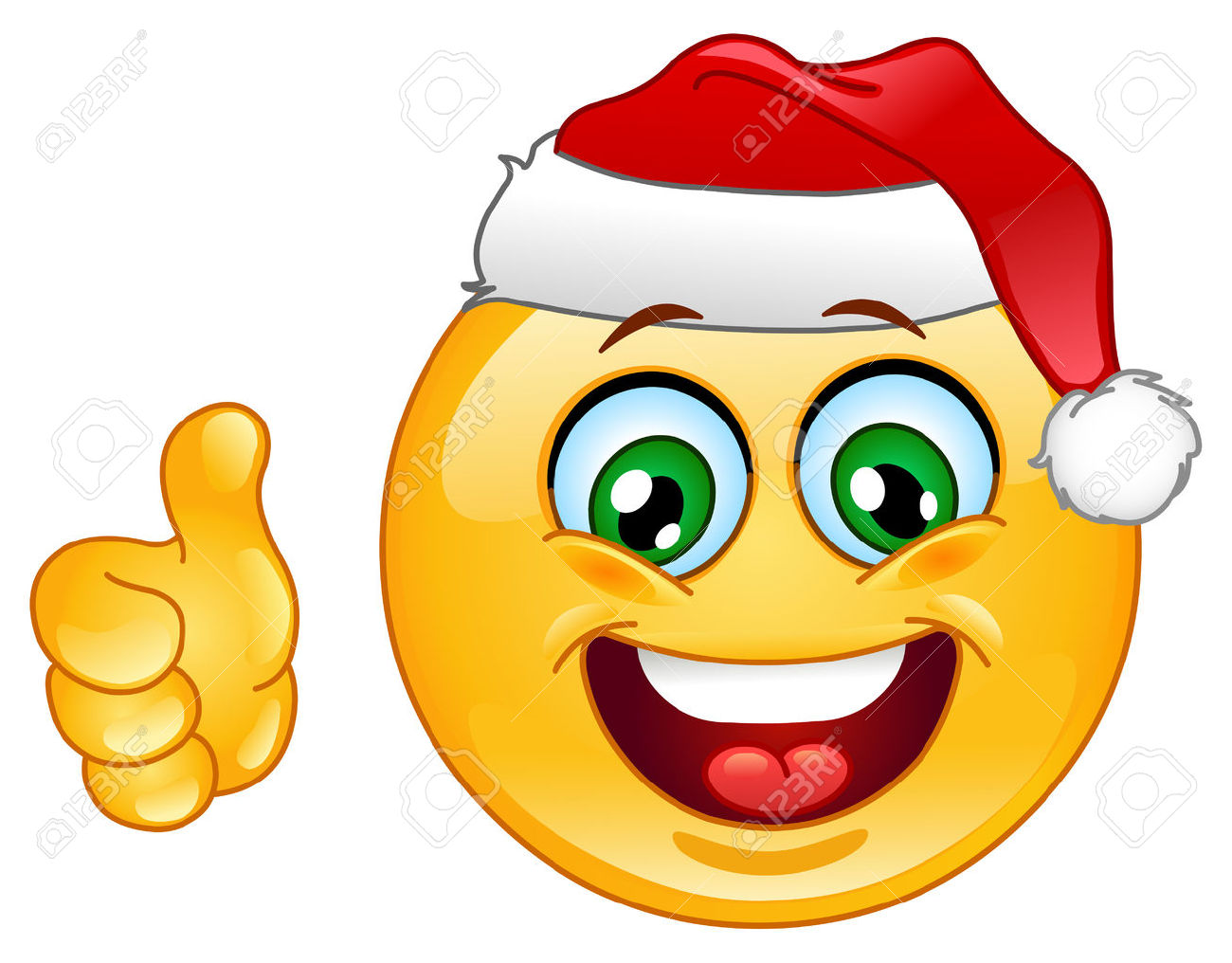 Thumbs up emoji clipart graphic library download Christmas Emoticon With Thumb Up Royalty Free Cliparts, Vectors ... graphic library download