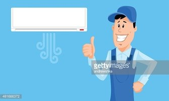 Thumbs up in air clipart graphic black and white download Worker Set The Air Conditioner and Show Thumb UP stock ... graphic black and white download