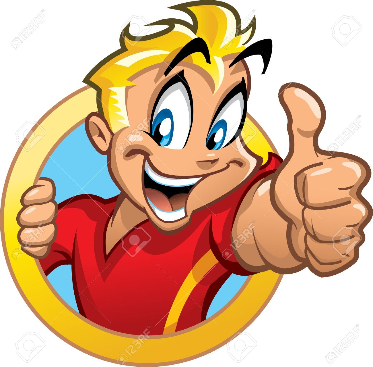 Thumbs up person clipart jpg royalty free download Happy Smiling Excited Blonde Boy In Circle Banner Holding Thumbs ... jpg royalty free download