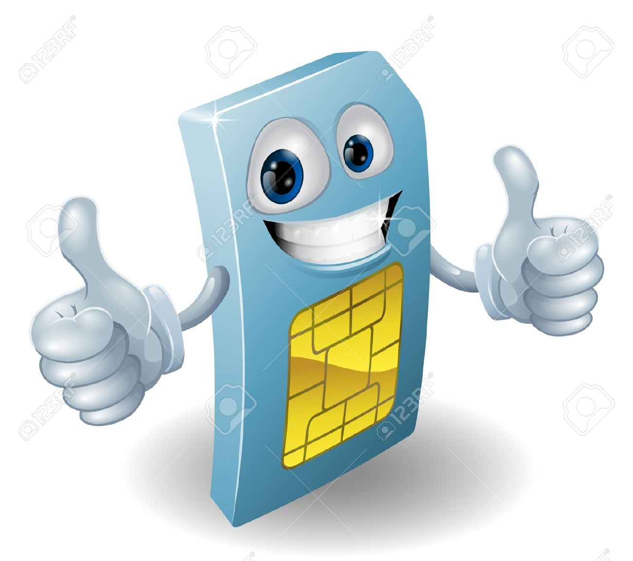 Thumbs up person clipart banner free download Illustration Of A Happy Phone Sim Card Person Doing A Thumbs ... banner free download