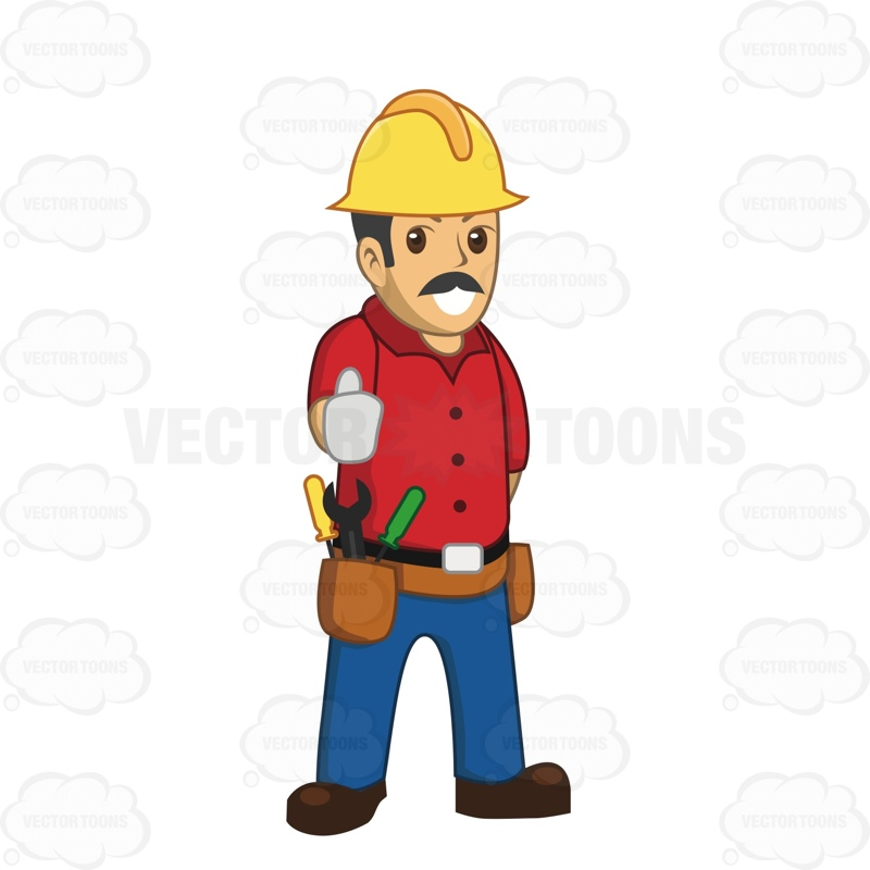 Thumbs up person clipart clipart transparent library Make Construction Worker With A Mustache Giving The Thumbs Up ... clipart transparent library