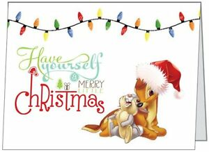 Thumper christmas clipart clip transparent download Details about Your Words BAMBI and Thumper Personal Business CUSTOM  Christmas CARDS USA clip transparent download