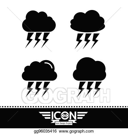 Thunder cake clipart clip transparent stock Vector Art - Cloud with thunder icon. Clipart Drawing ... clip transparent stock