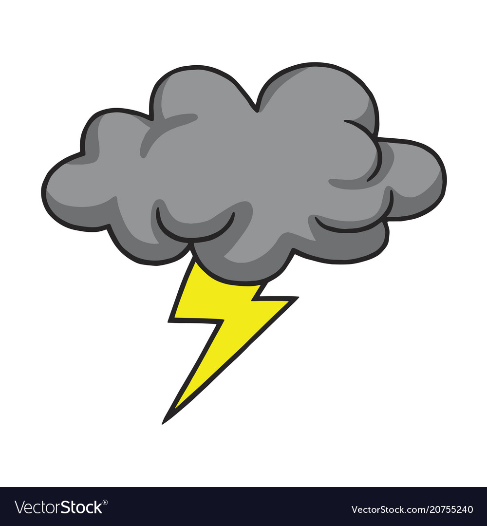 Thunder vector clipart image royalty free library Thunderstorm cloud hand drawn image royalty free library