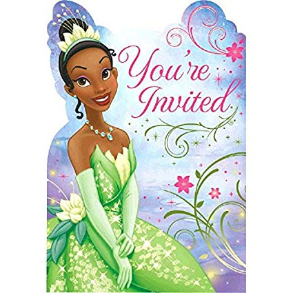 Tiana birthday clipart clip art black and white stock Amscan Dazzling Disney Tiana Enchanted Birthday Party Invitation Card  Supply (8 Pack), 8\