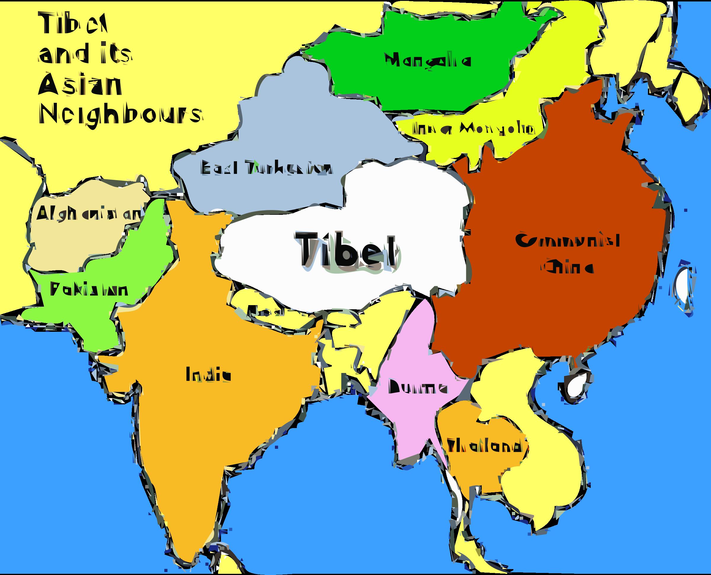 Tibetan long book clipart banner black and white Clipart - Tibet map banner black and white