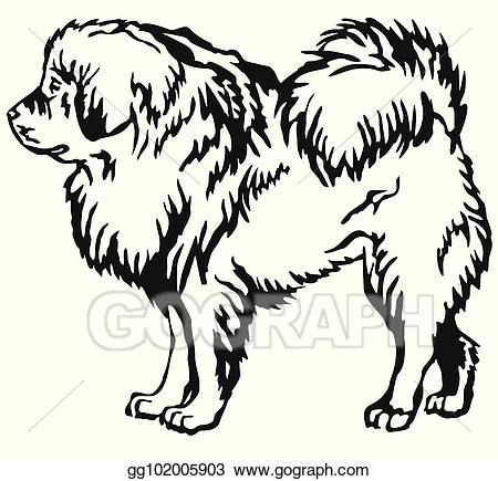 Tibetan mastiff clipart vector library library Vector Clipart - Decorative standing portrait of tibetan ... vector library library