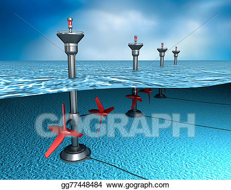 Tidal energy clipart clip art library Stock Illustrations - Tidal energy: generator in the ocean ... clip art library