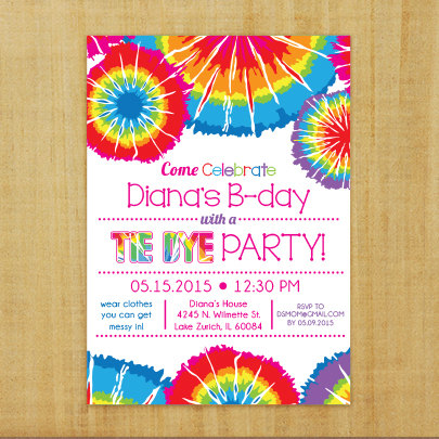 Tie dye birthday ideas & clipart on pinterest png black and white Tie Dye Invitation - Printable | Birthday party ideas in ... png black and white