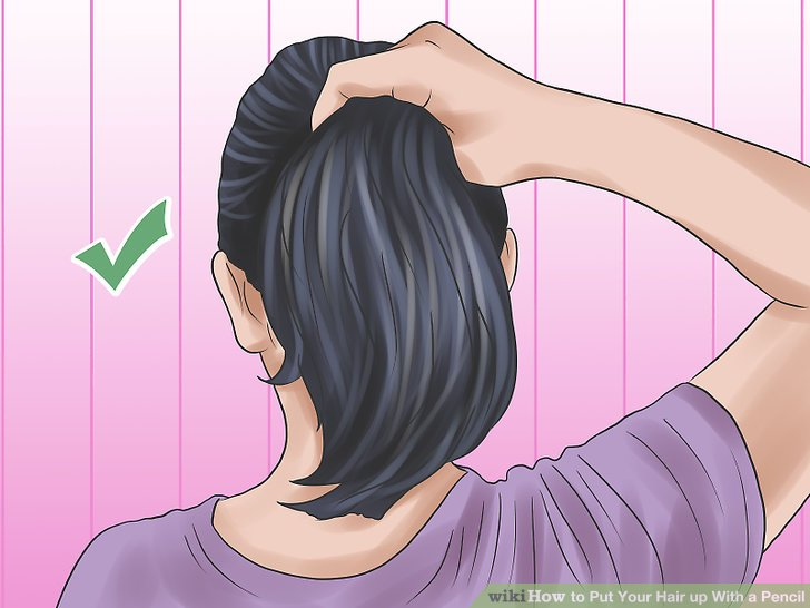 Tie hair clipart image freeuse 5 Ways to Put Your Hair up With a Pencil - wikiHow image freeuse