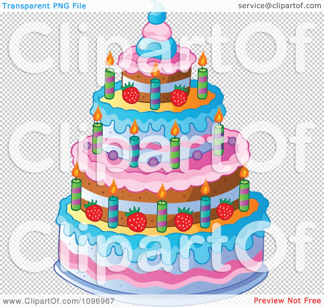 Tiered birthday cake clipart vector free download Clipart Four Tiered Colorful Birthday Cake With Candles And ... vector free download