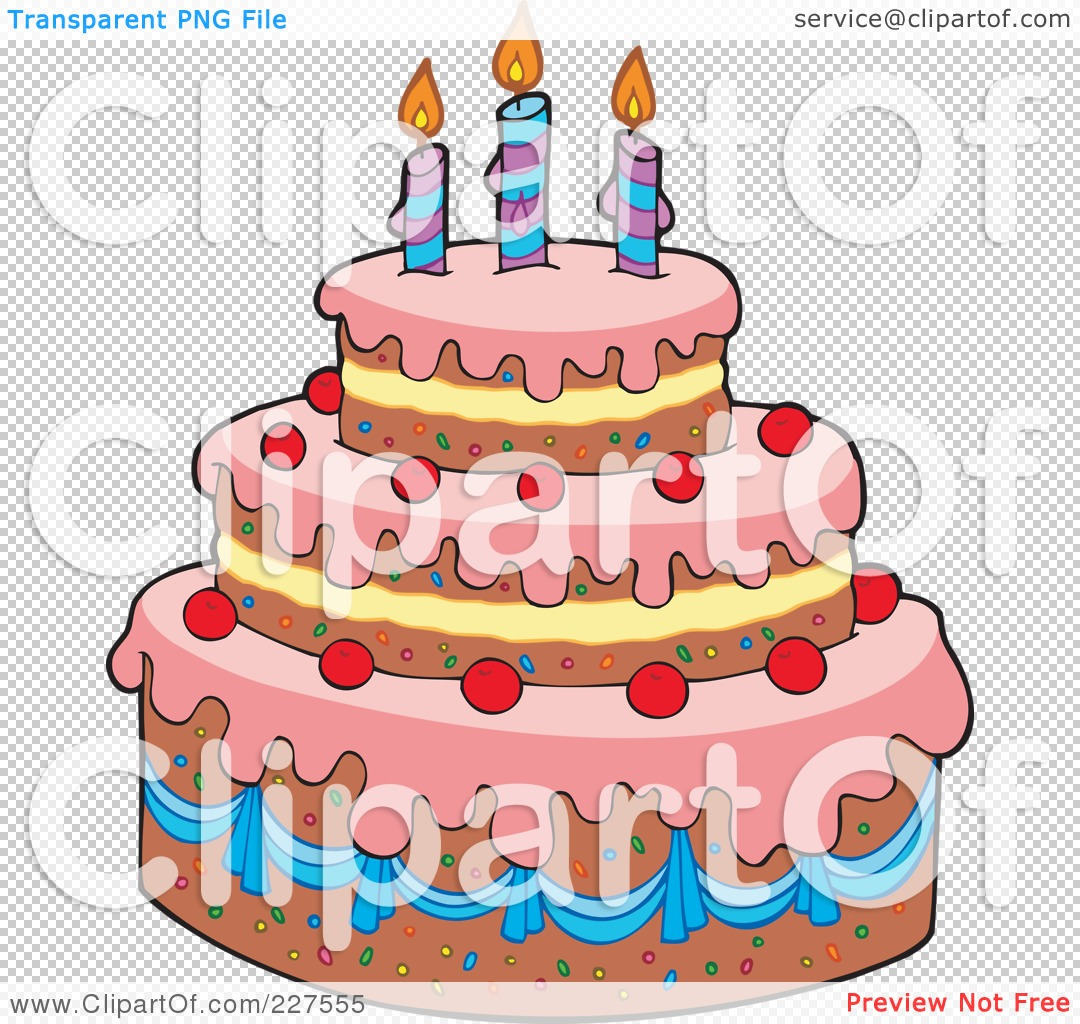 Tiered birthday cake clipart jpg royalty free library Royalty-Free (RF) Clipart Illustration of a Pink Frosted Tiered ... jpg royalty free library