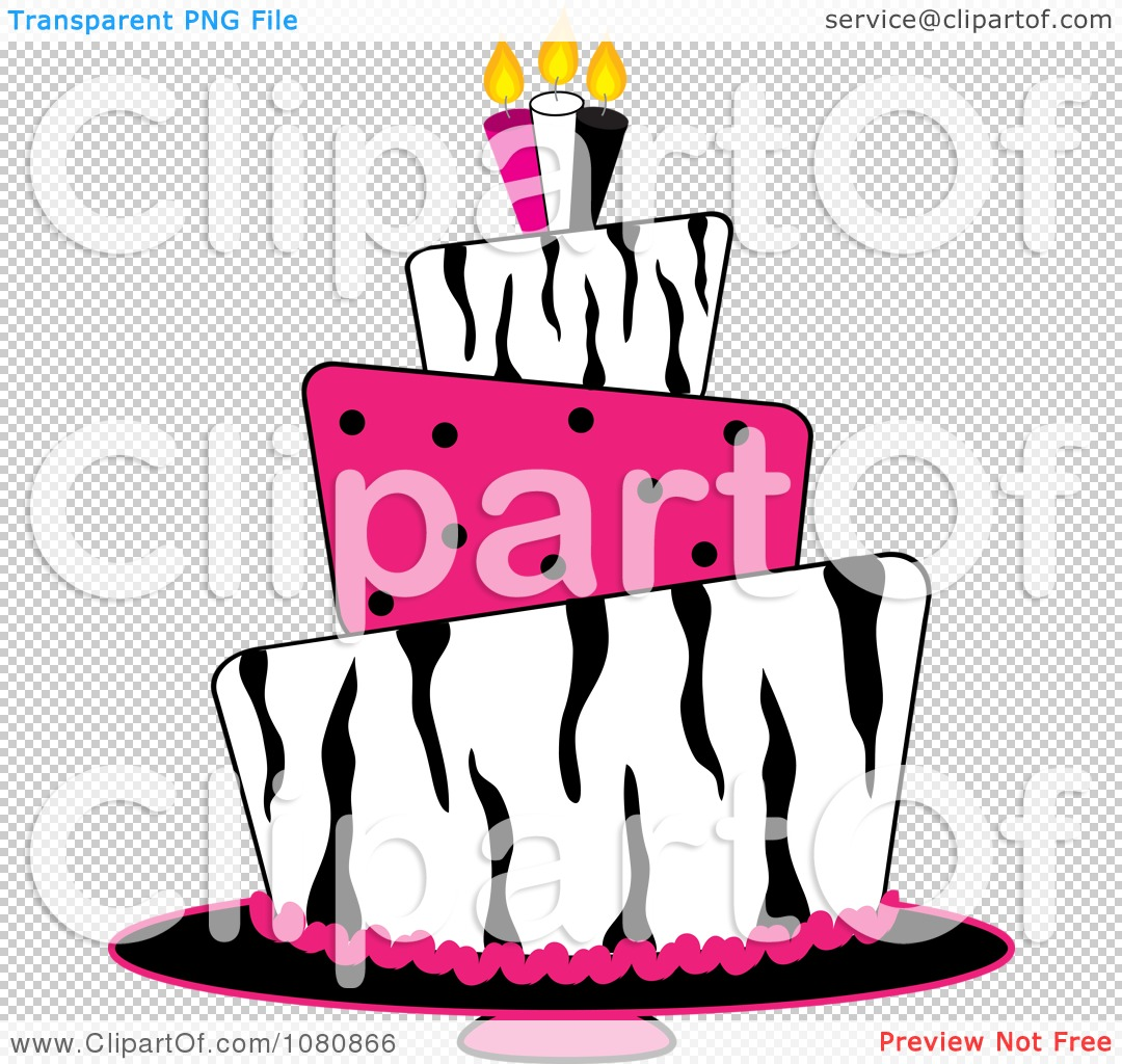 Tiered birthday cake clipart jpg library download Clipart Round Three Tiered Funky Zebra Print And Pink Polka Dot ... jpg library download