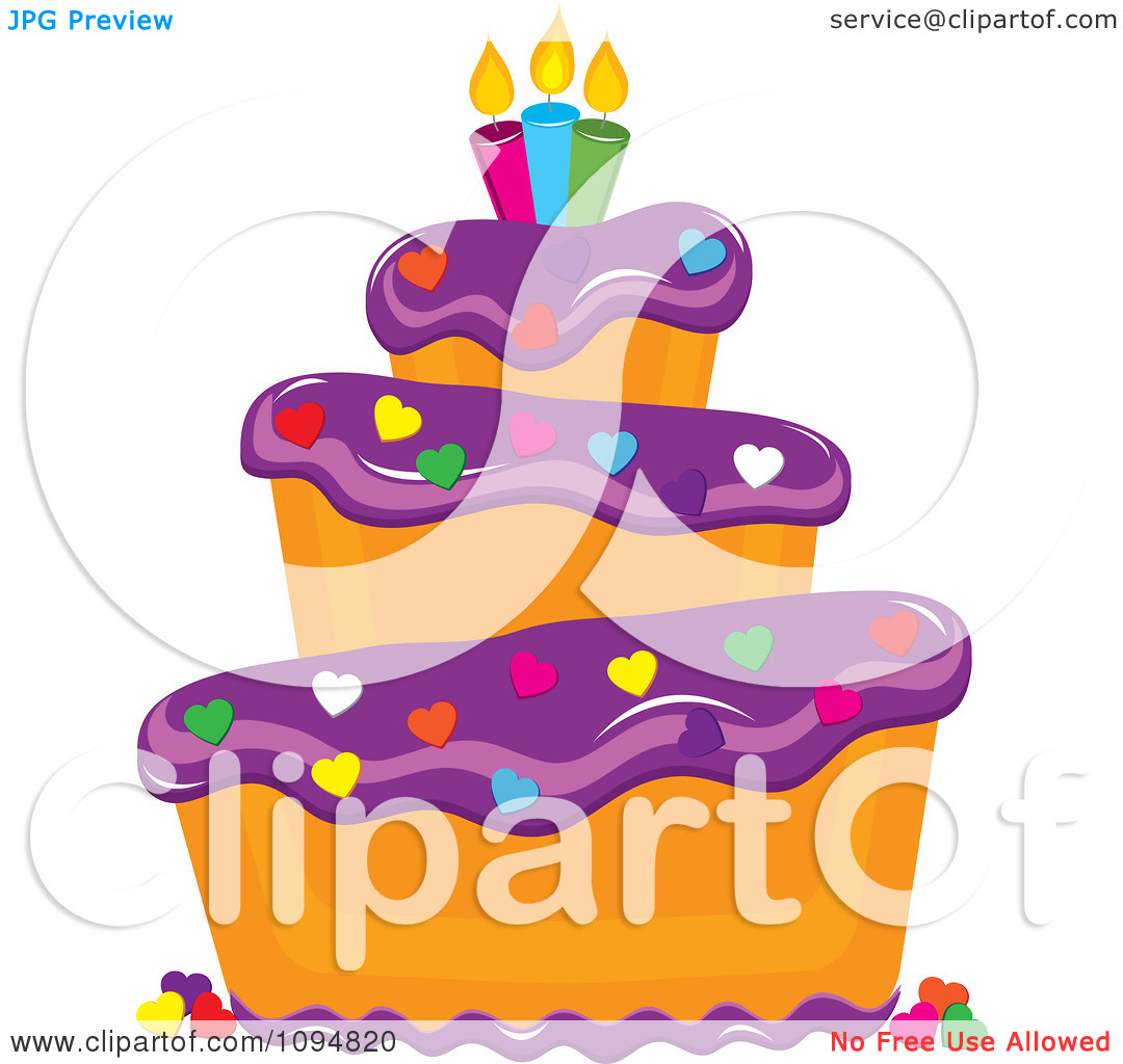 Tiered birthday cake clipart png free stock Clipart Funky Tiered Vanilla Cake With Purple Frosting Birthday ... png free stock