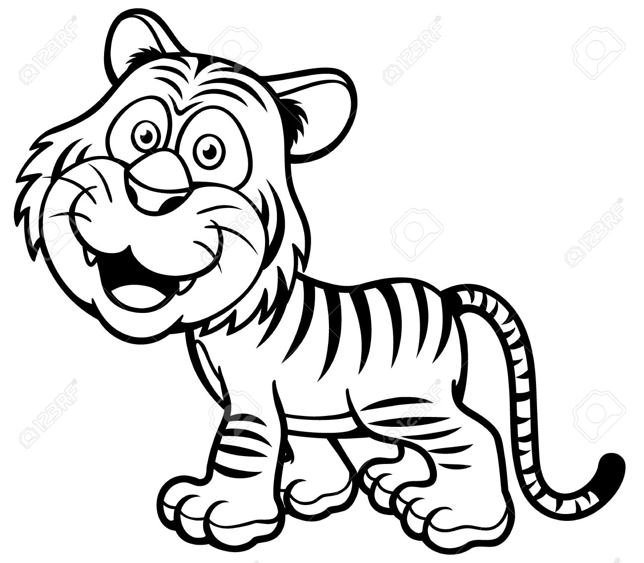 Tiger 1 color clipart picture stock Picture Of Tiger To Color - eassume.com picture stock