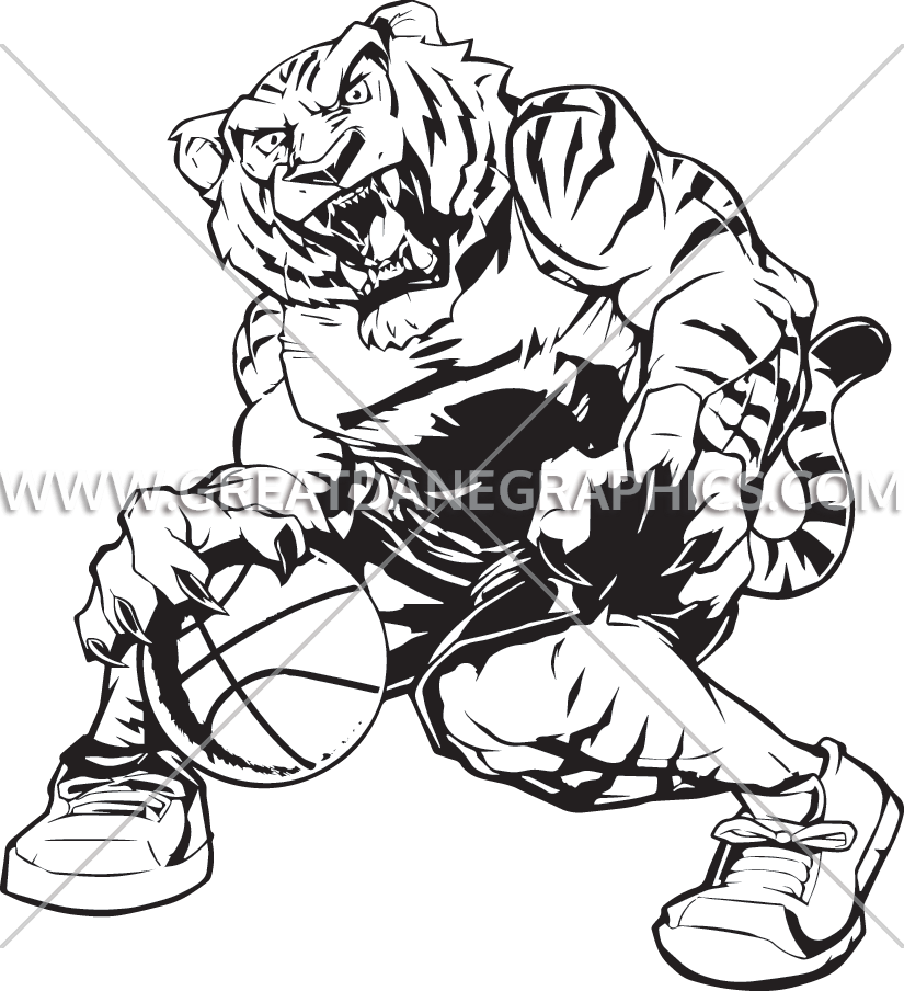 Tiger basketball clipart black and white jpg royalty free Basketball Tiger | Production Ready Artwork for T-Shirt Printing jpg royalty free