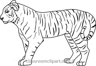 Tiger clipart black and white outline clip art freeuse Tiger black and white free black and white animals outline ... clip art freeuse