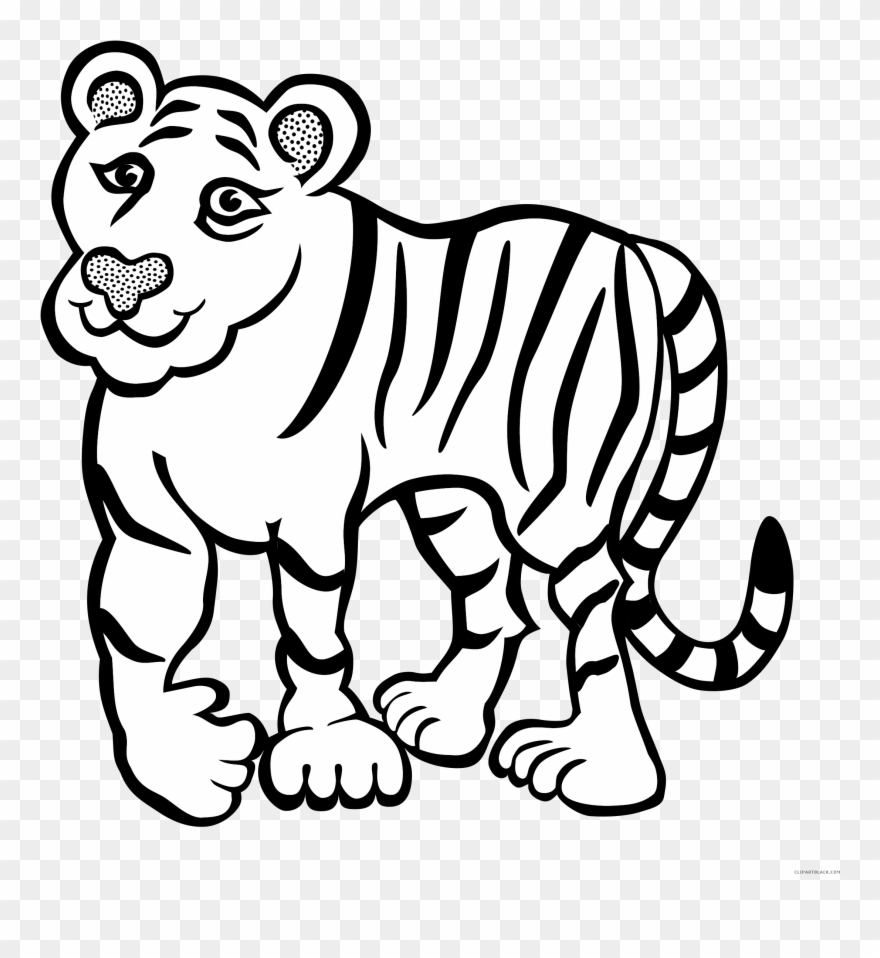 Tiger in jungle clipart black and white clipart download Tiger Outline Animal Free Black White Clipart Images ... clipart download