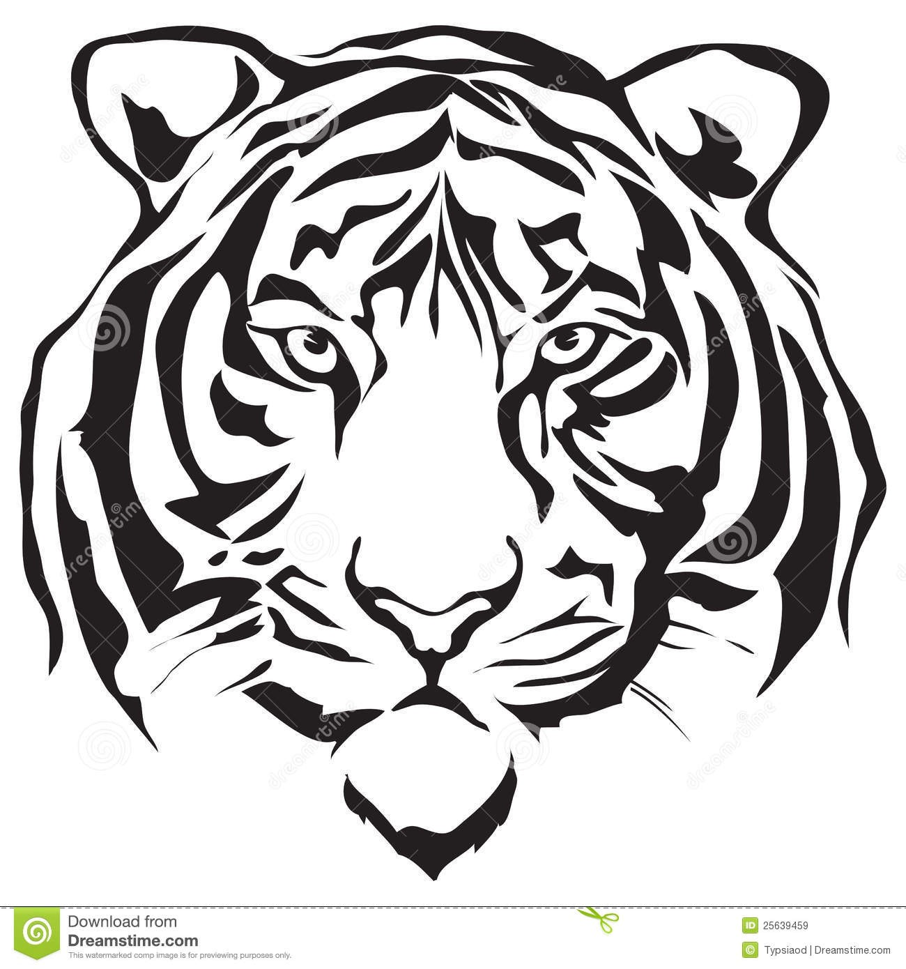Tiger face clipart black and white banner black and white library Tiger Clipart Black And White Free | Free download best ... banner black and white library